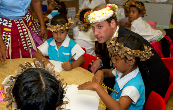 Prince William, Duke of Cambridge visits Nauti Primary School on September 18, 2012 in Tuvalu. Prince William, Duke of Cambridge and Catherine, Duchess of Cambridge are on a Diamond Jubilee tour representing the Queen taking in Singapore, Malaysia, the Solomon Islands and Tuvalu.