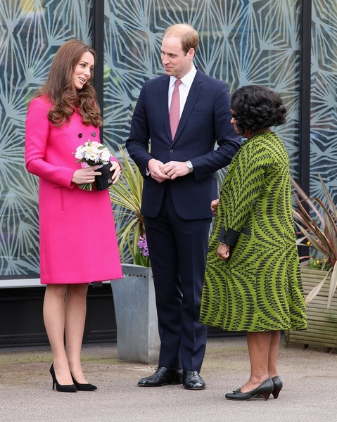 Prince William, Duke of Cambridge and Catherine, Duchess of Cambridge chat to Baroness Lawrence of Clarendon as they leave the Stephen Lawrence Centre on March 27, 2015 in London, England.