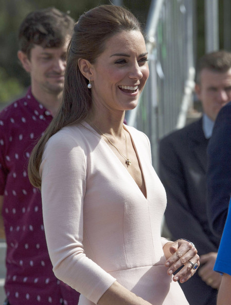 Catherine, Duchess of Cambridge meets riders during their visit to a skate park in the Adelaide suburb of Elizabeth on April 23, 2014 in Adelaide, Australia. The Duke and Duchess of Cambridge are on a three-week tour of Australia and New Zealand, the first official trip overseas with their son, Prince George of Cambridge.