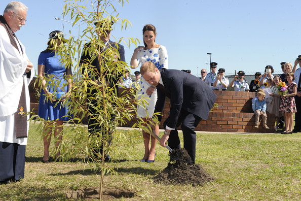 Prince William, Duke of Cambridge, watched by Catherine, Duchess of Cambridge, plants a Plunkett Mallee tree at the Memorial Garden during a visit to the Royal Australian Airforce Base at Amberley on April 19, 2014 in Brisbane, Australia. The Duke and Duchess of Cambridge are on a three-week tour of Australia and New Zealand, the first official trip overseas with their son, Prince George of Cambridge.