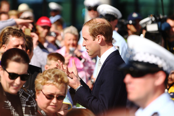 Prince William, Duke of Cambridge talks to the public during a visit to the National Arboretum on April 24, 2014 in Canberra, Australia. The Duke and Duchess of Cambridge are on a three-week tour of Australia and New Zealand, the first official trip overseas with their son, Prince George of Cambridge.