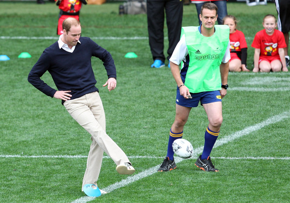Prince William, Duke of Cambridge kicks off a game of rippa rugby at Forsyth Barr Stadium, Dunedin on April 13, 2014 in Dunedin, New Zealand. The Duke and Duchess of Cambridge are on a three-week tour of Australia and New Zealand, the first official trip overseas with their son, Prince George of Cambridge.