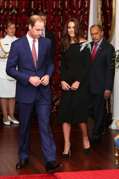Prince William, Duke of Cambridge and Catherine, Duchess of Cambridge arrive during a state reception at Government House on April 10, 2014 in Wellington, New Zealand. The Duke and Duchess of Cambridge are on a three-week tour of Australia and New Zealand, the first official trip overseas with their son, Prince George of Cambridge.