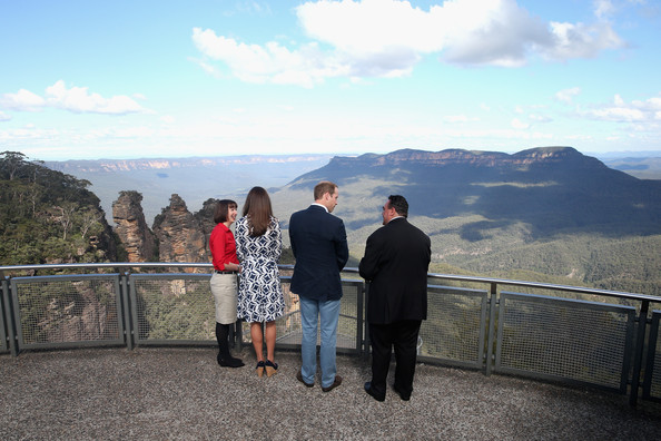 Prince William, Duke of Cambridge and Catherine, Duchess of Cambridge at Echo Point with the Three Sisters Rocks in the background in the Blue Mountains on April 17, 2014 in Katoomba, Australia. The Duke and Duchess of Cambridge are on a three-week tour of Australia and New Zealand, the first official trip overseas with their son, Prince George of Cambridge.