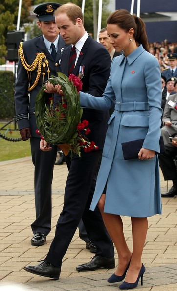 Prince William, Duke of Cambridge and Catherine, Duchess of Cambridge attend a ceremony at the war memorial in Seymour Square on April 10, 2014 in the town of Blenheim, New Zealand. The Duke and Duchess of Cambridge are on a three-week tour of Australia and New Zealand, the first official trip overseas with their son, Prince George of Cambridge.