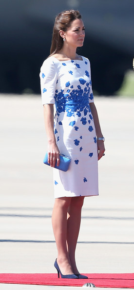 Catherine, Duchess of Cambridge arrives at the Royal Australian Airforce Base at Amberley on April 19, 2014 in Brisbane, Australia. The Duke and Duchess of Cambridge are on a three-week tour of Australia and New Zealand, the first official trip overseas with their son, Prince George of Cambridge.