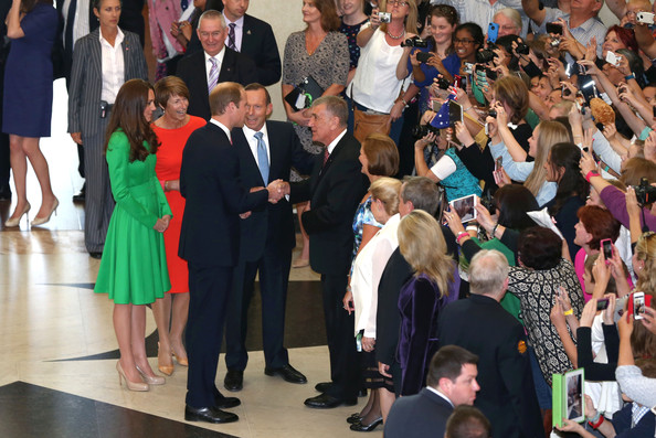 Prince William, Duke of Cambridge, accompanied by Prime Minister Tony Abbott and Catherine, Duchess of Cambridge, accompanied by Margie Abbott are introduced to President of the Senate John Hohh, on their arrival for a reception hosted by the Prime Minister of Australia at Parliament House on April 24, 2014 in Canberra, Australia. The Duke and Duchess of Cambridge are on a three-week tour of Australia and New Zealand, the first official trip overseas with their son, Prince George of Cambridge.
