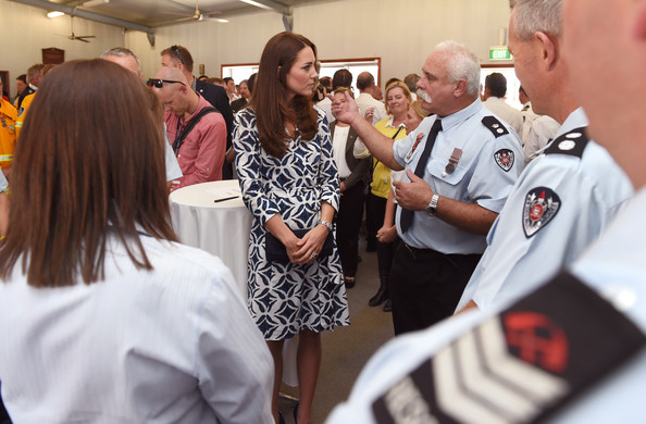 Catherine, Duchess of Cambridge speaks with volunteers as the royal couple meet with emergency services personnel at Winmalee, an area in the Blue Mountains heavily affected by bushfires last year, on April 17, 2014 in Winmalee, Australia. The Duke and Duchess of Cambridge are on a three-week tour of Australia and New Zealand, the first official trip overseas with their son, Prince George of Cambridge.