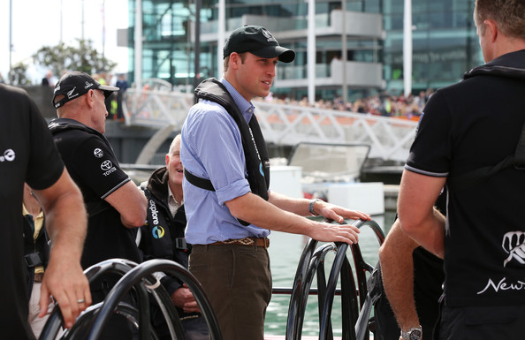 Prince William, Duke of Cambridge prepares to sail with Team New Zealand at the Viaduct Basin on April 11, 2014 in Auckland, New Zealand. The Duke and Duchess of Cambridge are on a three-week tour of Australia and New Zealand, the first official trip overseas with their son, Prince George of Cambridge.