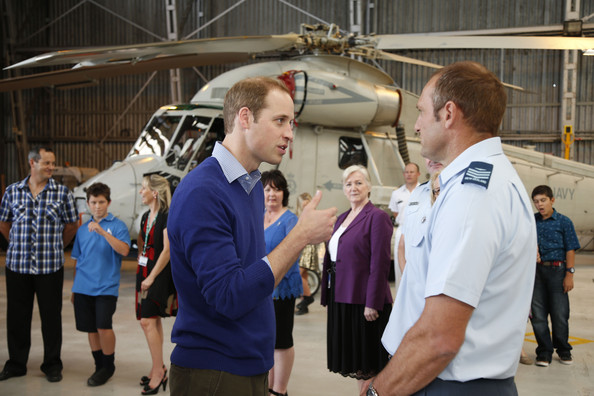 Prince William, Duke of Cambridge speaks with Sgt Stephen Sutherland after arriving at Whenuapai Airbase on April 11, 2014 in Auckland, New Zealand.  The Duke and Duchess of Cambridge are on a three-week tour of Australia and New Zealand, the first official trip overseas with their son, Prince George of Cambridge.