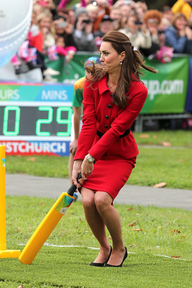 Catherine, Duchess of Cambridge plays a game of cricket during a visit to Latimer Square on April 14, 2014 in Christchurch, New Zealand. The Duke and Duchess of Cambridge are on a three-week tour of Australia and New Zealand, the first official trip overseas with their son, Prince George of Cambridge.
