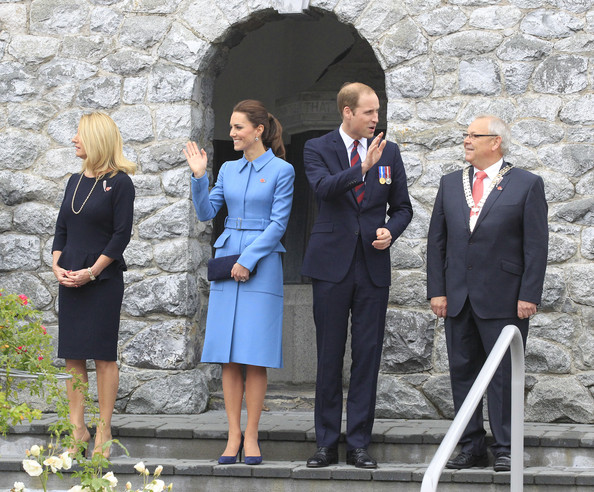 Prince William, Duke of Cambridge and Catherine, Duchess of Cambridge attend the wreath laying ceremony at the Blenheim War Memorial on April 10, 2014 in Blenheim, New Zealand. The Duke and Duchess of Cambridge are on a three-week tour of Australia and New Zealand, the first official trip overseas with their son, Prince George of Cambridge.