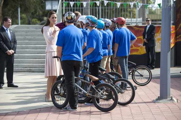 Catherine, Duchess of Cambridge and Prince William, Duke of Cambridge meet riders during their visit to a skate park in the Adelaide suburb of Elizabeth on April 23, 2014 in Adelaide, Australia. The Duke and Duchess of Cambridge are on a three-week tour of Australia and New Zealand, the first official trip overseas with their son, Prince George of Cambridge.