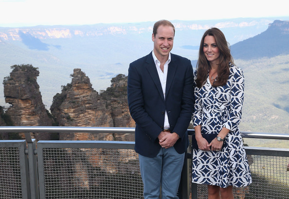 Prince William, Duke of Cambridge and Catherine, Duchess of Cambridge pose for a photograph at Echo Point with 'The Three Sisters' in the background on April 17, 2014 in Katoomba, Australia. The Duke and Duchess of Cambridge are on a three-week tour of Australia and New Zealand, the first official trip overseas with their son, Prince George of Cambridge.