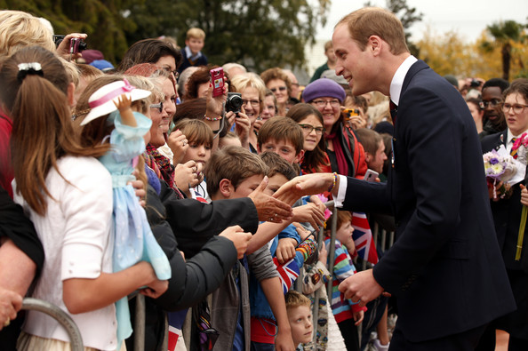 Prince William, Duke of Cambridge speaks with members of the crowd at a ceremony at the war memorial in Seymour Square on April 10, 2014 in the town of Blenheim, New Zealand. The Duke and Duchess of Cambridge are on a three-week tour of Australia and New Zealand, the first official trip overseas with their son, Prince George of Cambridge.