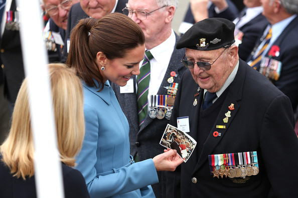 Catherine, Duchess of Cambridge talks to a war veteran after the wreath laying ceremony at the Blenheim War Memorial on April 10, 2014 in Blenheim, New Zealand. The Duke and Duchess of Cambridge are on a three-week tour of Australia and New Zealand, the first official trip overseas with their son, Prince George of Cambridge.