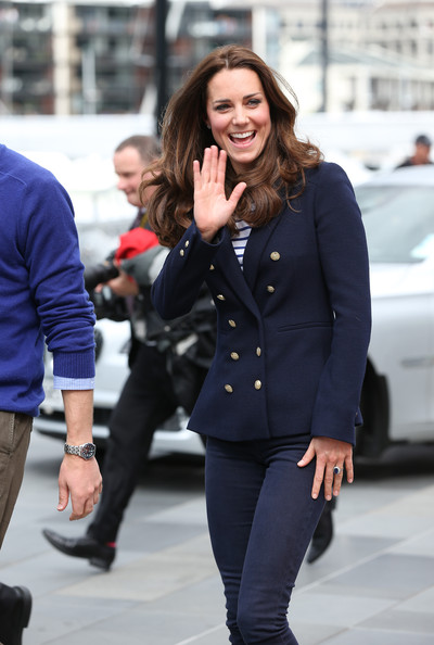 Catherine, Duchess of Cambridge arrives to the Viaduct Basin to sail with Team New Zealand on April 11, 2014 in Auckland, New Zealand. The Duke and Duchess of Cambridge are on a three-week tour of Australia and New Zealand, the first official trip overseas with their son, Prince George of Cambridge.