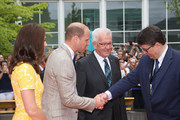 Minister-President of Baden-Wuerttemberg Winfried Kretschmann (3rd R) and Prof. Dr. Michael Baumannnn welcome Catherine, Duchess of Cambridge and Prince William, Duke of Cambridge as they arrive for a visit of the German Cancer Research Center on the second day of their visit to Germany on July 20, 2017 in Heidelberg, Germany. The Duke and Duchess of Cambridge will meet researchers including Nobel Prize winner prof. Dr. Harald zur Hausen, and visit the stem cell research lab. The royal couple are on a three-day trip to Germany that includes visits to Berlin, Hamburg and Heidelberg.