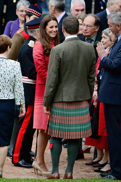 Catherine, Duchess of Cambridge greets dignitaries  at MacRostyy Park on May 29, 2014 in Crieff, Scotland. The Duke and Duchess of Cambridge will spend today in Scotland where they will tour adistillery and visit a village fete.