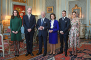 Catherine, Duchess of Cambridge and Prince William, Duke of Cambridge pose with King Carl XVI Gustaf of Sweden, Queen Silvia of Sweden, Prince Daniel, Duke of Vastergotland and Crown Princess Victoria of Sweden ahead of a lunch at the Royal Palace of Stockholm during day one of their Royal visit to Sweden on January 30, 2018 in Stockholm, Sweden.