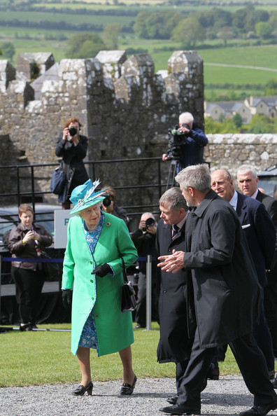 Duke of Edinburgh Queen Elizabeth II and Prince Philip, Duke of Edinburgh visit  the Rock of Cashel accompanied by Minister for Public Expenditure and Reform Brendan Howlin TD and Dr Eugene Keane on May 20, 2011 in Cashel, Ireland. The Duke and Queen are on a historic four-day tour of the Republic of Ireland amid tight security, the first visit to Ireland by a British monarch since 1911. Republican dissident groups have made it clear they are intent on disrupting proceedings.