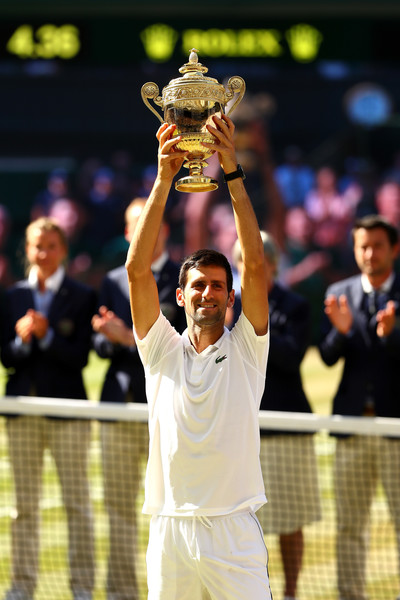 Day Thirteen: The Championships - Wimbledon 2018 [mens singles,tennis,championship,tennis player,competition event,sports,sport venue,player,tournament,ball game,sports equipment,novak djokovic,kevin anderson,trophy,serbia,south africa,england,london,wimbledon,final]