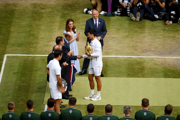 Day Thirteen: The Championships - Wimbledon 2019 [mens singles,sport venue,championship,stadium,player,sports,team,crowd,games,competition event,team sport,novak djokovic,prince edward,roger federer,trophy,wimbledon,serbia,duke of kent,championships,final]