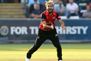 Imran Tahir of Durham makes an appeal for a wicket during the Vitality Blast match between Durham Jets and Yorkshire Vikings at  the Emirates Riverside on July 13, 2018 in Chester-le-Street, England.