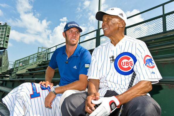 """""""Mr. Cub"""" Ernie Banks And BMW Championship Defending Champion Dustin Johnson Tee Off For Charity From The Wrigley Field Stands To Mark The Start Of The 2011 BMW Championship"""