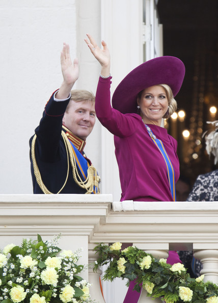 Crown Prince Willem Alexander and Princess Maxima of The Netherlands wave from the Noordeinde Palace balcony after attending Budget Day announcement on September 18, 2012 in The Hague, Netherlands.