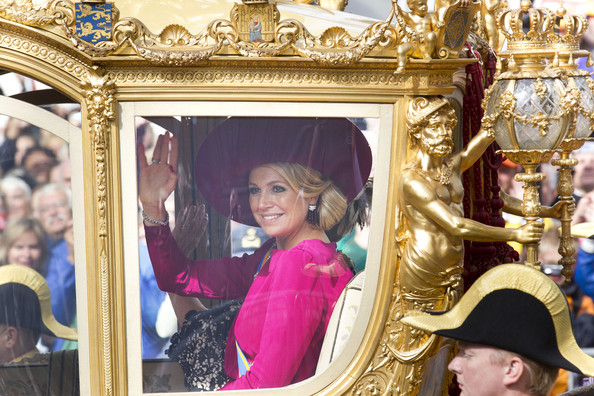 Princess Maxima of The Netherlands rides in the Golden Chariot after attending Budget Day announcement on September 18, 2012 in The Hague, Netherlands.