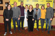 """(L-R) Clark Duke, Michael Aguilar, Erik Griffin, Ari Graynor, Melissa Leo, Al Madrigal, Michael Angarano, and Andrew Santino attend the """"I'm Dying Up Here"""" premiere 2017 SXSW Conference and Festivals on March 15, 2017 in Austin, Texas."""