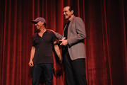 Film producer Jon Kilik and actor Chazz Palminteri receive Golden Thumb awards  onstage at the 'A BRONX TALE' Screening at Virginia Theatre during EBERTFEST 2015 on April 17, 2015 in Champaign, Illinois.