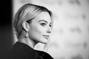 Image has been converted to black and white)  Margot Robbie attends the EE British Academy Film Awards 2020 After Party at The Grosvenor House Hotel on February 02, 2020 in London, England.