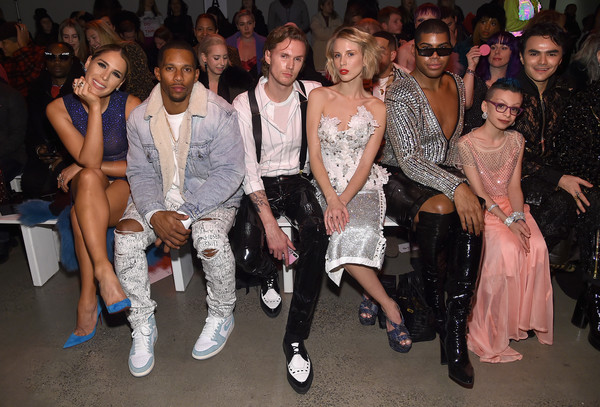 The Blonds - Front Row - February 2019 - New York Fashion Week: The Shows [shows,the blonds,fashion,event,fashion design,fashion model,fashion show,haute couture,fun,runway,audience,tessa hilton,ej johnson,victor cruz,blonds - front row,l-r,front row,barron hilton ii,new york fashion week]