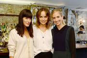(L-R) Founder of Eye Swoon Athena Calderone, Kelly Framel and Rachelle Hruska attend ELLE, Clarins, Athena Calderone & Lauren Bush Lauren Host Intimate Lunch In Support Of The FEED Supper Initiative at The Musket Room on October 14, 2014 in New York City.