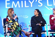 "(L-R) Amber Tamblyn, Eva Longoria, and Wendy Davis speak onstage during EMILY's List Brunch and Panel Discussion ""Defining Women"" at Four Seasons Hotel Los Angeles at Beverly Hills on February 04, 2020 in Los Angeles, California."
