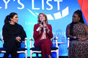 "(L-R) Eva Longoria, Wendy Davis, and Uzo Aduba speak onstage during EMILY's List Brunch and Panel Discussion ""Defining Women"" at Four Seasons Hotel Los Angeles at Beverly Hills on February 04, 2020 in Los Angeles, California."
