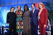 "(L-R) Eva Longoria, Amber Tamblyn, Uzo Aduba, Amanda Shires, and Wendy Davis pose onstage during EMILY's List Brunch and Panel Discussion ""Defining Women"" at Four Seasons Hotel Los Angeles at Beverly Hills on February 04, 2020 in Los Angeles, California."