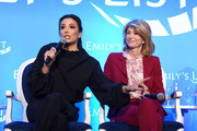 "(L-R) Eva Longoria and Wendy Davis speak onstage during EMILY's List Brunch and Panel Discussion ""Defining Women"" at Four Seasons Hotel Los Angeles at Beverly Hills on February 04, 2020 in Los Angeles, California."