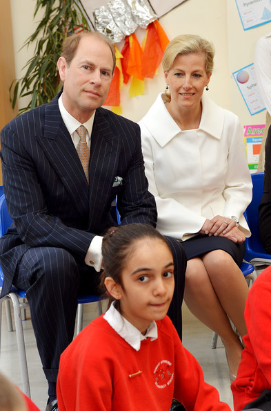 Prince Edward, Earl of Wessex and the Sophie, Countess of Wessex sit in a classroom during an official visit on the Earl's 50th Birthday to Robert Browning Primary School in Walworth to see the work of youth charity Kidscape, recipients of grants from the Wessex Youth Trust, on March 10, 2014 in London, United Kingdom.