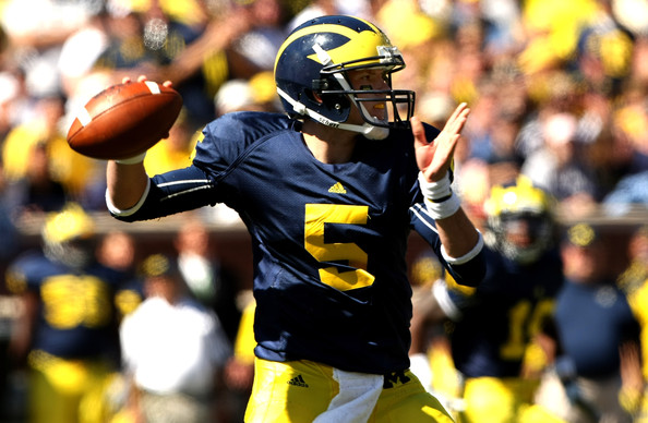 Tate Forcier Quarterback Tate Forcier #5 of the Michigan Wolverines throws a pass against the Eastern Michigan Eagles at Michigan Stadium on September 19, 2009 in Ann Arbor, Michigan.   Michigan won 45-17.
