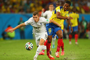 Lucas Digne of France is challenged by Antonio Valencia of Ecuador during the 2014 FIFA World Cup Brazil Group E match between Ecuador and France at Maracana on June 25, 2014 in Rio de Janeiro, Brazil.