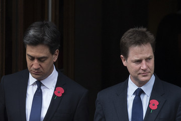 Ed Miliband Nick Clegg British Royal Family And Government Mark The Gallipoli Centenary At The Cenotaph