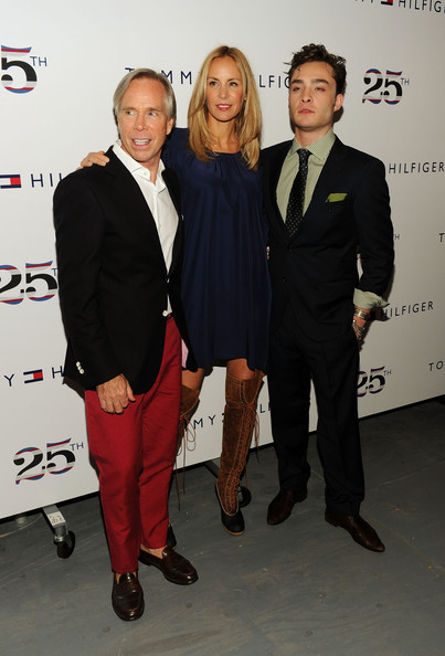 Ed Westwick Designer Tommy Hilfiger, Dee Ocleppo and actor Ed Westwick pose at the Tommy Hilfiger Spring 2011 fashion show during Mercedes-Benz Fashion Week at The Theater at Lincoln Center on September 12, 2010 in New York City.