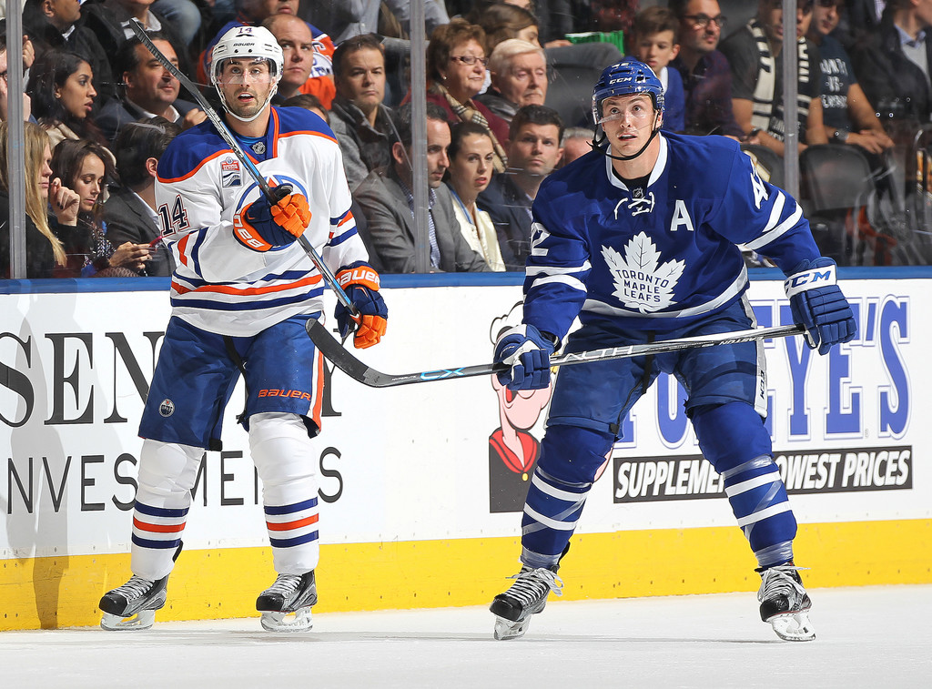 tyler bozak photos photos edmonton oilers v toronto. Black Bedroom Furniture Sets. Home Design Ideas