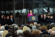 Victoria Reggie Kennedy speaks during the Edward M. Kennedy Institute Dedication Ceremony as (L to R) Edward Kennedy Jr., First Lady Michelle Obama, Boston Mayor Marty Walsh, U.S. President Barack Obama, U.S. Senator Edward Markey, U.S. Vice President Joe Biden, Cardinal Sean O'Malley, Jean Kennedy Smith, and Patrick Kennedy listen March 30, 2015 in Boston, Massachusetts. The Edward Kennedy Institute is a testament to one of the longest serving U.S. Senators.