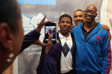 Edwin Moses Daley Thompson adidas Olympic Media Lounge At Westfield