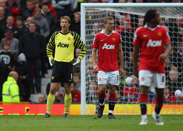 Edwin van der Sar Edwin Van Der Sar of Manchester United looks dejected after his mistake led to the equalizing goal during the Barclays Premier League match between Manchester United and West Bromwich Albion at Old Trafford on October 16, 2010 in Manchester, England.