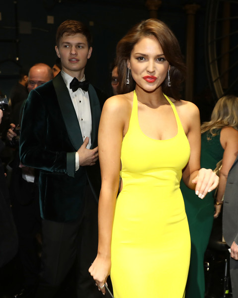 90th Annual Academy Awards - Backstage [handout,clothing,dress,yellow,fashion,cocktail dress,hairstyle,formal wear,suit,event,premiere,eiza gonzalez,ansel elgort,academy awards,backstage,california,hollywood,dolby theatre,a.m.p.a.s.,90th annual academy awards]